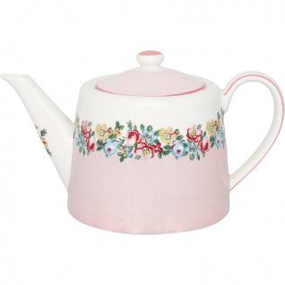 Greengate Teekanne MADISON Weiß Kanne Rosa Porzellan Geschirr mit Blumen 1 Liter