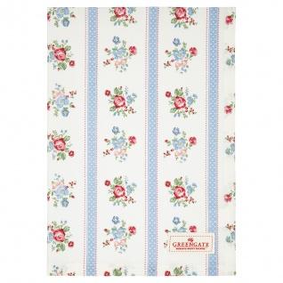 Greengate Geschirrtuch EVIE Weiß Blau Blumen Baumwolle 50x70 Küchentuch