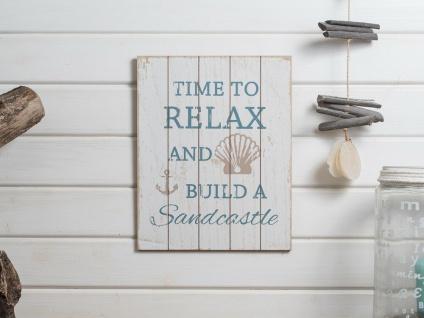 Schild BEACH Holzschild TIME TO RELAX Weiß Deko Maritim Wandbild 27x34 Anker