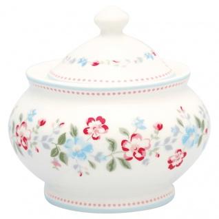 Greengate Zuckerdose SONIA Weiß Rot Porzellan Geschirr mit Blumen 200 ml 6x10 cm