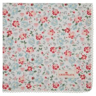 Greengate Serviette MERLA Blau Rot Baumwolle Blumen 40x40 Stoffserviette