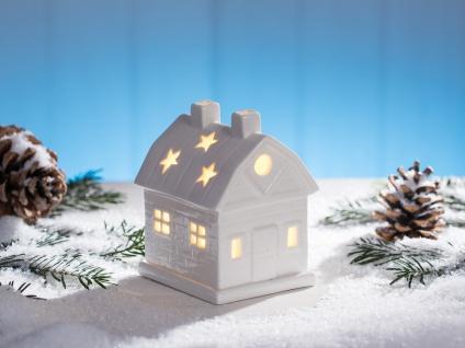 Windlicht Haus mit Schornsteinen weiß Keramik Weihnachtsdeko Tischdeko Teelicht