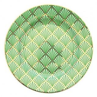 Greengate Teller FAN grün Goldrand Gate Noir Kuchenteller Porzellan 20 cm