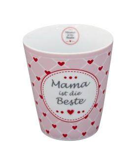 Krasilnikoff Happy Mug Becher MAMA IST DIE BESTE Rosa Herzen rot Porzellan