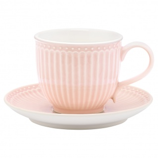 Greengate Tasse mit Untertasse ALICE Rosa Kaffeebecher Everyday PALE PINK