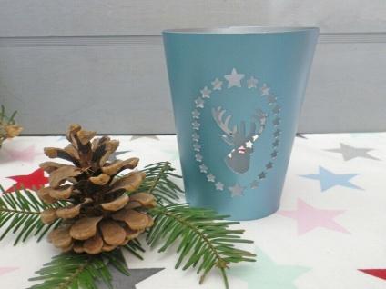Windlicht RENTIER Türkis Metal HIRSCH 12 cm Sterne Weihnachtsdeko Weihnachten