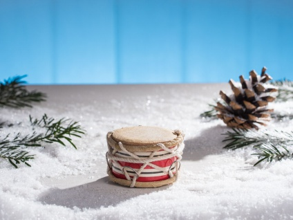 IB Laursen Trommel mini rot weiß gestreift Kordel Deko Weihnachtsdeko