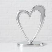 Deko Herz ANNA Silber Hochzeitsdeko 28 cm Hochzeit Geschenk Tischdeko Aufsteller