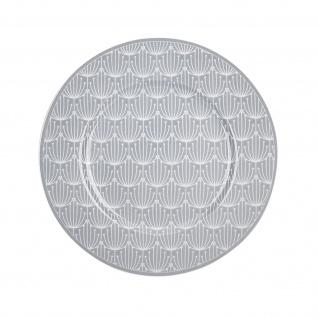 Krasilnikoff Teller BLOSSOM Hellgrau Kuchenteller 20 cm Porzellan Geschirr Grau