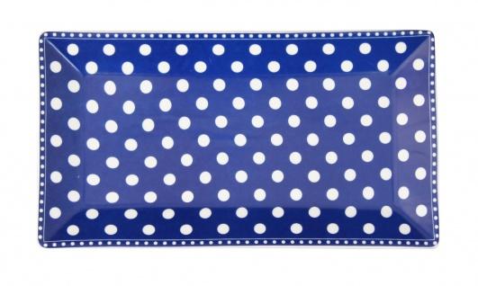 Krasilnikoff Tablett Teller PUNKTE Blau Weiß Porzellan Teller eckig 14x25 cm