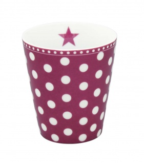 Krasilnikoff Becher Happy Mug PUNKTE Pflaume Tasse Porzellan Kaffeebecher