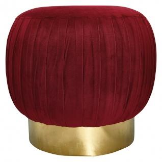 GreenGate Hocker Bordeaux Rot Fuß Gold Gate Noir Pouf groß Samt Stuhl Sockel