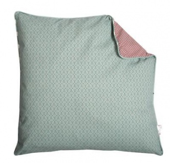 A.U Maison - Kissen mit Füllung Altrosa Punkte grün Muster 50x50 Baumwolle