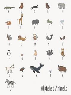 IB Laursen Schild Tier Alphabet - Deko Schild Metall Blechschild Buchstaben Kind