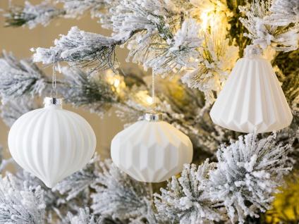 Weihnachtskugel BIANCA weiß 3er Set Weihnachtsdeko Tannenbaumschmuck Weihnachten