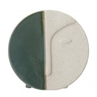 Bloomingville Vase Rund mit Gesicht Grün Weiß 18 cm Tischvase Wandvase Keramik