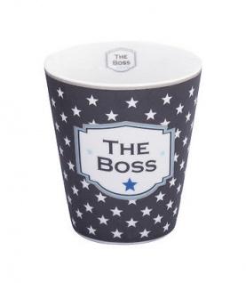 Krasilnikoff Happy Mug Becher THE BOSS Dunkelgrau Sterne weiß Porzellan Tasse