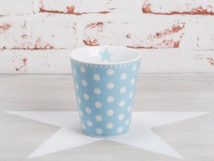 Krasilnikoff Happy Mug Becher PUNKTE Hellblau weiß Tasse Porzellan Blau