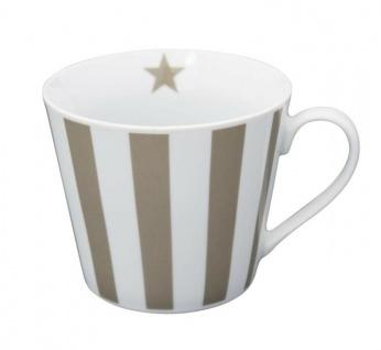 Krasilnikoff Happy Cup Henkel Becher STREIFEN Vertikal Taupe Tasse Porzellan