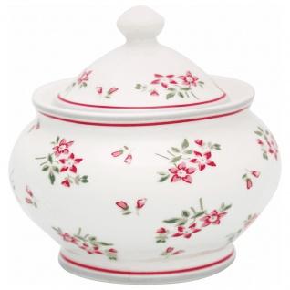 Greengate Zuckerdose AVERY Weiß Rot Porzellan Geschirr mit Blumen 200 ml 6x10 cm