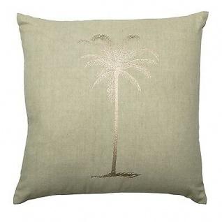 Bloomingville Kissen 45x45 grün mit Palme gold inkl Füllung Baumwolle