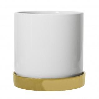Bloomingville Blumentopf Weiß Untersetzer Gold Übertopf Keramik Topf 14 cm groß