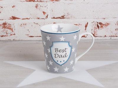 "Krasilnikoff Happy Mug Henkel Becher Best Dad"" grau Sterne weiß blau Stern hell"""