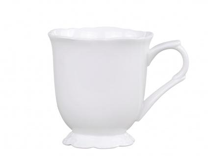 Chic Antique Becher PROVENCE Porzellan Geschirr Weiß Tasse 300ml mit Henkel
