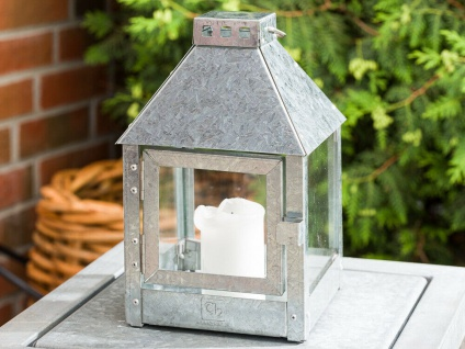 A2 Living Allwetter Laterne Quadro Mini verzinkt 27 cm Metall Outdoor wetterfest