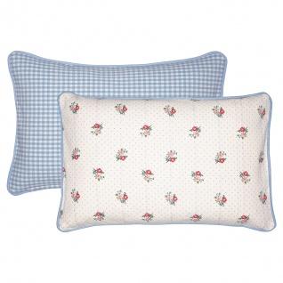 Greengate Kissen EJA Baumwolle Kissenbezug 30x50 Kissenhülle Weiss mit Blumen