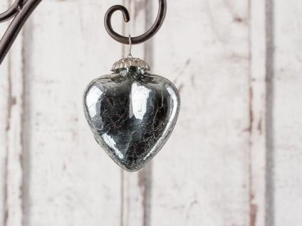 Hänger Herz SILVER Deko Hochzeiten Weihnachten Glas 7 cm silber glänzend schwer