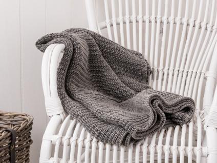 IB Laursen Decke grau gestrickt Wolldecke 130x180 Kuscheldecke Baumwolle