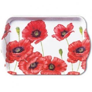 Ambiente Tablett ROMANTIC POPPY Weiß Mohnblumen Rot Blumen Serviertablett 13x21