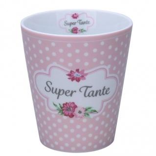 Krasilnikoff Becher Happy Mug SUPER TANTE Rosa Punkte Kaffeebecher 250 ml Tasse