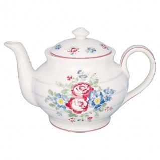 Greengate Teekanne HENRIETTA Weiß Kanne Porzellan Geschirr mit Blumen 1 Liter