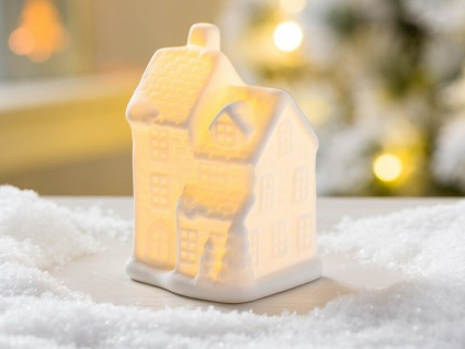 LED Haus SAMUEL weiß mit Licht 10 cm Weihnachten Deko Objekt beleuchtet
