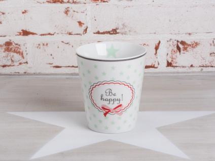 Krasilnikoff Happy Mug Becher BE HAPPY Weiß Sterne Mint Grün Porzellan