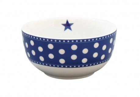 Krasilnikoff Schale Happy Bowl PUNKTE Dunkelblau Müslischale Porzellan Schüssel
