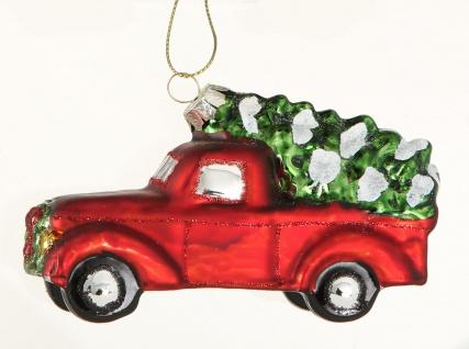 Tannenbaum Hänger PICK UP mit Baum auf Dach Rot Auto 11 cm Glas Vintage Design