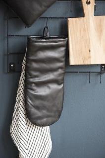 IB Laursen BBQ Ofenhandschuh Leder schwarz für Grill und Küche 15x34 Topflappen