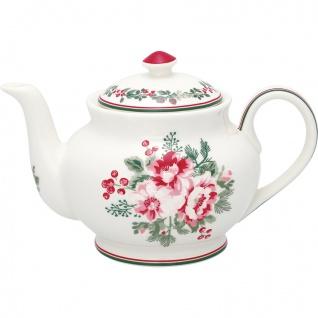 Greengate Teekanne CHARLINE Weiß Kanne Porzellan Geschirr mit Blumen 1 Liter