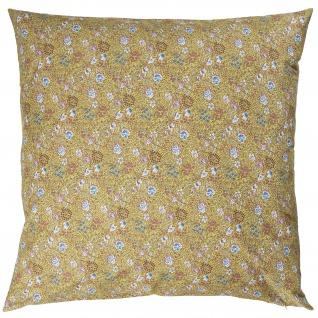 IB Laursen Kissenbezug Blumen Gelb Design Kissen 60x60 Baumwolle Kissenhülle
