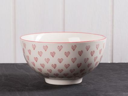 IB Laursen Schale Herz groß creme weiß Rote Herze. weiße Keramik Schüssel Müslis