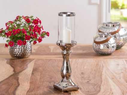 Windlicht Glory 36 cm Fuß Silber Glas Zylinder Silberrand Kerzenständer Kerzenha