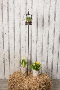 Windlicht Stab Crown 150 cm. Gartenstab. Pflanztopf Ständer Krone Retro Antik St