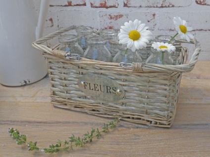 Korb MIA mit 8 Fläschchen Vasen braun Glasflaschen Vase Korb mit Henkel Fleurs