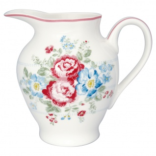 Greengate Milchkännchen HENRIETTA Weiß Rot Porzellan Geschirr mit Blumen 350 ml
