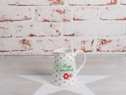 Krasilnikoff Milchkännchen KEEP SMILING Weiß Punkte grau Spruch rot Porzellan