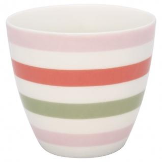 Greengate Latte Cup VALENTINA Weiss mit bunten Streifen Kaffeebecher 300 ml