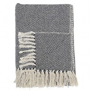 Bloomingville Decke Karo dunkelblau creme weiß Baumwolle Plaid Wolldecke Throw